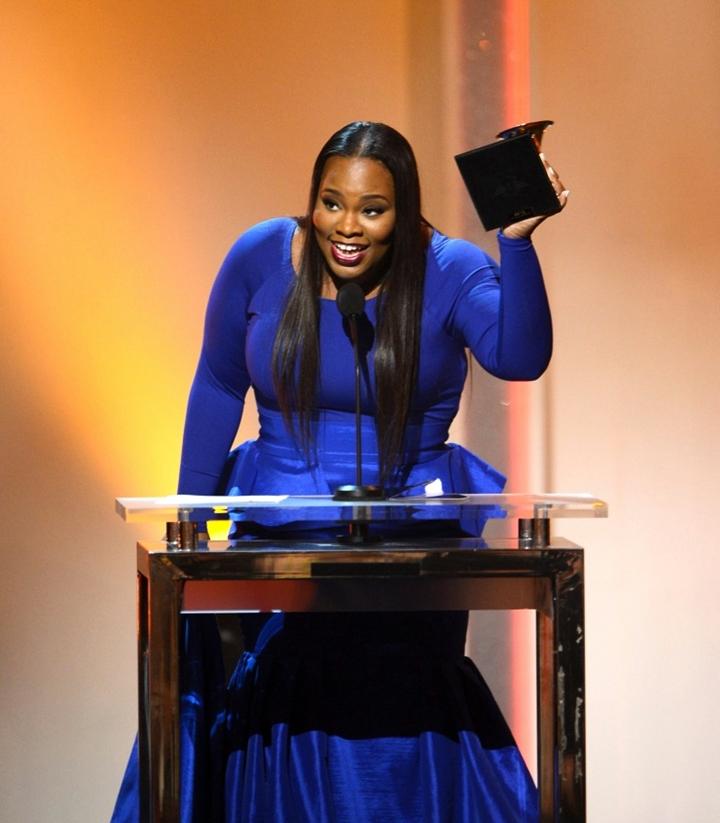 Tasha Cobb saying 'thank you' at the Grammy Awards 2014